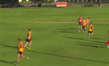 AFL Football Drills: Switch Through the Centre Handball